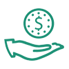 An icon that shows the profile of a hand recieving a clock with a money symbol in the center