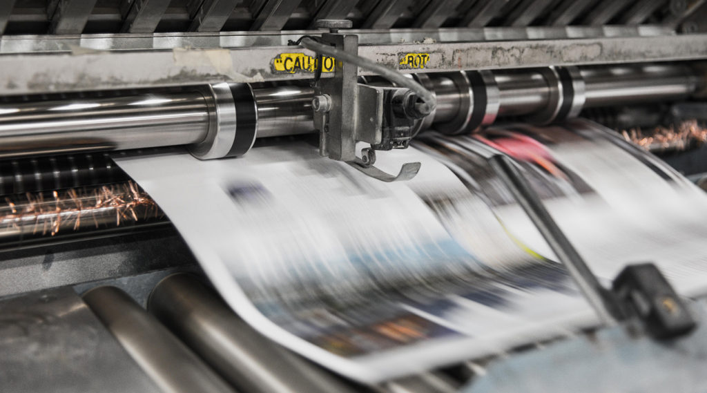 A press prints out newspapers