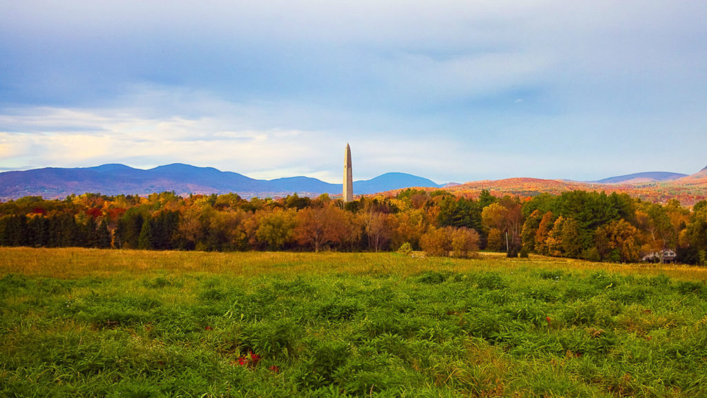 A view of Bennington Monument in Vermont during the fall