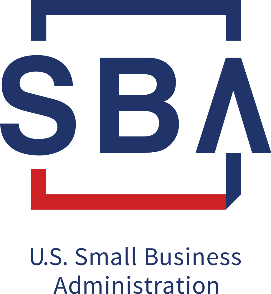 Red, white and blue Small Business Administration logo stacked in block text