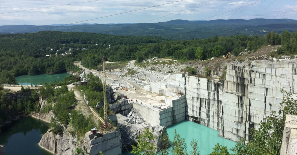An overhead view of the granite quarry in Vermont