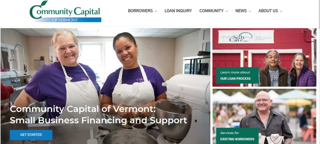 Screenshot of the homepage of Community Capital of Vermont, featuring main navigation and three boxes